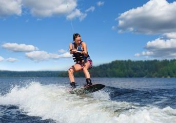 Waterskiing on Lake James